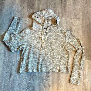 Brandy Melville Cropped Hoodie Sweater Salt Pepper